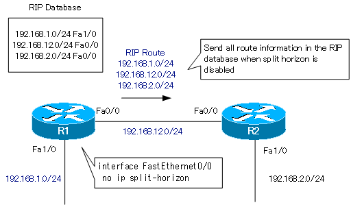 Figure RIP route information to be sent from R1(Split horizon disabled)